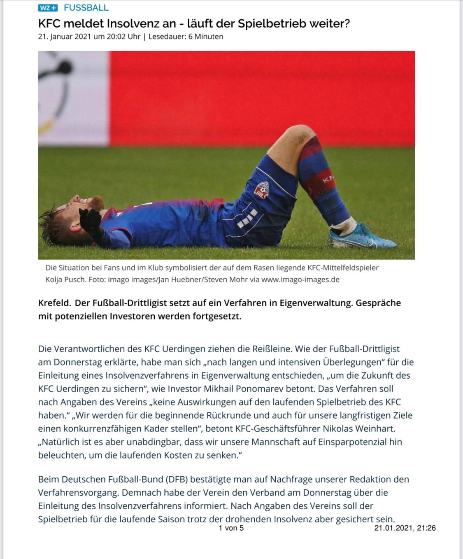 Fußball-Drittligist KFC Uerdingen Meldet Insolvenz An